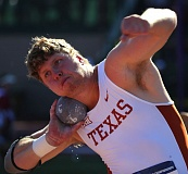 ANDY NELSON/THE REGISTER-GUARD - Ryan Crouser finishes fifth in the NCAA shot put Wednesday at Hayward Field in Eugene.