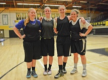 JOHN WILLIAM HOWARD - Left to right: Paiten Strade, Emily Nollette, Kaylee Wegner and Tierra Ramsay will play a big role in St. Helens girls' basketball next season. Nollette was named to the USA Junior Nationals program on Wednesday.