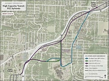 SUBMITTED - A map of Southwest portland shows sevearl options for how a proposed high capacity transit line might serve PCC Sylvania, including a light rail tunnel underneath the campus.