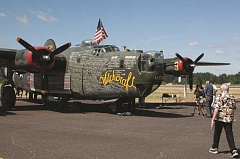 JOHN BAKER - The B-24 Liberator from the World War II era stopped at Aurora State Airport last week.