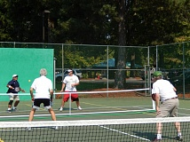 FILE PHOTO - Carlos Mini (from left), John DeJager, Sean Hale and Kurt Wilke play pickleball in Tualatin Community Park.