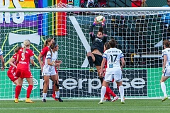 Michelle Betos of the Portland Thorns catches a shot by FC Kansas City defender Amy LePeilbet.