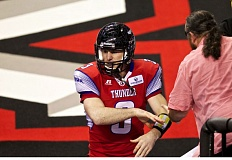 TRIBUNE PHOTO: JAIME VALDEZ - Quarterback Kyle Rowley and the Portland Thunder have playoff position on their minds going into a crucial game Sunday night at Moda Center against the Spokane Shock.