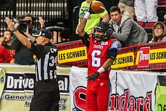 TRIBUNE PHOTO: CHRIS OERTELL - Jared Perry displays the ball after one of his five touchdown catches Sunday at Moda Center, where the Portland Thunder lost to the Spokane Shock.