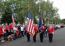 BARBARA SHERMAN - The Tigard American Legion Post 158 Color Guard presents the colors at the beginning of the Memorial Day ceremony in Crescent Grove Cemetery in Tigard on May 25.