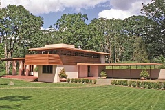 SUBMITTED PHOTO - The Gordon House, the only home designed by Frank Lloyd Wright in Oregon, was moved from Wilsonville to its current home at the Oregon Garden in Silverton.