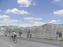 COURTESY IMAGE: CITY OF HILLSBORO - This rendering by Venice, Calif. artist Cliff Garten shows what will be an art piece installed along the Brookwood Parkway overpass at Highway 26 once the road construction there is complete.