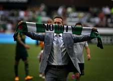 Timbers coach Caleb Porter shows off the Sunday mantra.