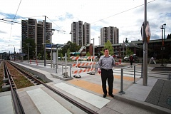 TRIBUNE PHOTO: JONATHAN HOUSE - PSU spokesman Scott Gallagher discusses plans to redevelop the four-acre parcel where University Place Hotel is located, along the new MAX Orange line. A new Tax Court ruling clears the cloud over urban renewal funding for the project.