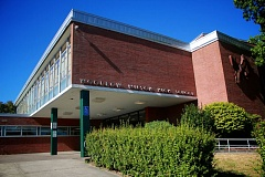 TRIBUNE PHOTO: KELSEY O'HALLORAN - Woodrow Wilson High School, opened in 1956, is in Southwest Portland's Hillsdale neighborhood. A teacher and some students are building an effort to rename the school, saying the World War I-era president was racist.