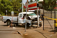 DAVID F. ASHTON - Witnesses told THE BEE they were surprised the driver of this truck survived the crash, at S.E. Duke and 82nd Avenue of Roses.