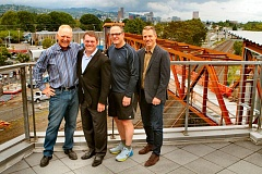 DAVID F. ASHTON - Lorentz Bruun Constructions operations are carried on by the founders son, Kelly Bruun, and grandsons Mark Bruun, Kurt Bruun and Erik Bruun - shown here atop the new footbridge theyve built for TriMet across the Union Pacific Brooklyn Yard at S.E. Lafayette Street.