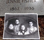 SUBMITTED PHOTO: NANCY HEADLEE - A portrait of Jennie Fisher and her sisters was laid at her new marker in the Oregon Pioneer Cemetery. The memory of Jennie, shown at right, was honored at a ceremony held on Tuesday.