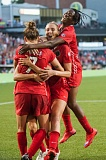 TRIBUNE PHOTO: DIEGO G. DIAZ - The Portland Thorns celebrate a goal in their comeback victory 2-1 Friday night against Sky Blue.