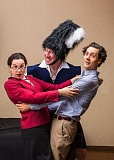 PHOTO BY RUSSELL J. YOUNG - Ethan LaFrance separates Olivia Shimkus and Jake Simonds in the Portland-area premiere of the comedy 'Unnecessary Farce,' July 11-Aug. 16.