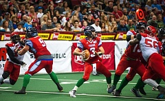 TRIBUNE PHOTO: DIEGO G. DIAZ - Portland Thunder quarterback Kyle Rowley stands in the pocket, looking to throw during Saturday's 72-48 victory over the Jacksonville Sharks.