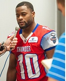 TRIBUNE PHOTO: DIEGO G. DIAZ - Varmah Sonie, defensive back, speaks to the media after his first game of 2015 with the Portland Thunder.