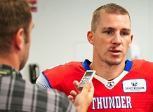 Quarterback Kyle Rowley answers questions after leading the Portland Thunder to a 72-48 home victory over the Jacksonville Sharks.