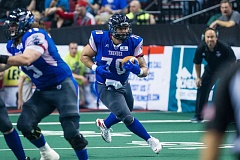 TRIBUNE PHOTO: JOHN LARIVIERE - John Martinez, a former USC Trojan offensive lineman, is making his mark as a fullback for the Portland Thunder in his second Arena Football League season.