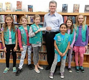 SUBMITTED PHOTO - Girl Scout Troop 45573 gave about $80 to the Wilsonville Public Library and about $100 to PAWS Animal Shelter in West Linn, from left: Kyra Lorio, Lacie Wheeler, Isabel Folske, Hefziba Bautista, Kaylie Koenig and Abbey Johnston.