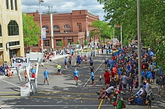 COURTESY: HOOPFEST - A line of 3-on-3 basketball games fills the streets of downtown Spokane every summer during Hoopfest, an event now run by Portland native Matt Santangelo, who starred at point guard for Gonzaga University.