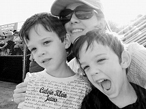 Reporter Shasta Kearns Moore enjoying a recent baseball game with her 5-year-old twins, Malachi (right) and Jaden.