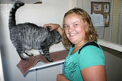 STEVE KADEL - Rylee Madison, 13, gives some attention to a cat at the Humane Society of the Ochocos during a recent visit.