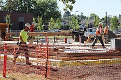 HOLLY M. GILL - On Saturday, the Jefferson County Courthouse contractor poured half the cement walls for the project in forms on top of the building's foundation. The second half of the walls will be poured next month.