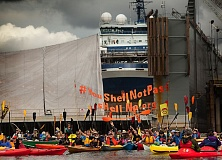 COURTESY 350PDX  - Portland 'kayaktivists assembled at Swan Island Saturday, July 25, to protest Shell Oil's icebreaker sent for repairs to a shipyard here.