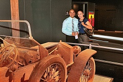 DAVID F. ASHTON - Arturo and Maria Lagos examine the Silver Ghost automotive model made of many, many matchsticks; its part of the Ripleys Believe It or Not collection.