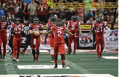 COURTESY: PORTLAND THUNDER - Duane Brooks of the Portland Thunder rejoices after breaking an Arena Football League single-season record with a kickoff return for a touchdown Saturday night, his eighth this season.