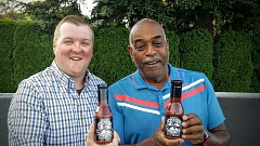 SUBMITTED PHOTO - Ryan Massrey, left, and Walt 'Uncle Wally' Sims get together to display their famous barbecue sauce.