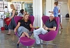 TRIBUNE PHOTO: JAIME VALDEZ - Crystal Rutland and Gregg Sloan, co-founders of Empirical, sit in the office of the business at the East Bank Commerce Center.