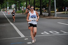 PHOTO BY RON MACPIKE - Erin Taylor-Talcott competes in the men's and women's 20-kilometer race walk at the 2015 USATF Outdoor Track & Field Championships, held in Eugene in late June. The 1996 graduate of Clackamas High School placed fifth in the women's field. She holds several world and American records for competitive race walking.
