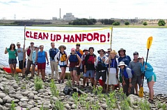 COURTESY COLUMBIA RIVERKEEPER - Volunteers call for cleanup of contamination at Hanford Nuclear Reservation.