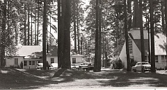 HISTORIC PHOTO - Jennings Lodge Campground education building and Fiesen Chapel pictured in the mid-20th century.