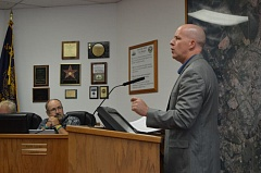 SPOTLIGHT PHOTO: MARK MILLER - St. Helens Police Chief Terry Moss urges city councilors against allowing marijuana businesses to operate in St. Helens during a lightly attended work session on Wednesday afternoon, Aug. 12, in the council chambers at St. Helens City Hall.