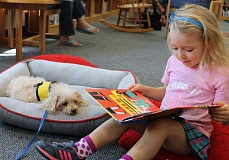 SPOKESMAN PHOTO: JAKE BARTMAN - CeCe the toy poodle, age 9, listens to a story read by Hadley Phillips, age 4, during Wilsonville Library's Reading to Dogs.