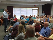 SPOKESMAN PHOTO: JAKE BARTMAN - Senator Jeff Merkley (D-Ore.) spoke on issues including education, transportation and the proposed nuclear deal with Iran at the Wilsonville Library on Aug. 10.