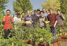 RON HALVORSON - Members of the Crook County High School FFA pose for a group photo at their garden. Pictured left to right are Shelby Squier, Bradley Beardsley, Carlos Vaca, Emma Freeman, Clayton Wells, Jose Villagomez, Katelynn Self, Joel Hoff (faculty), Sean Meyer and Chris Shollenburg.