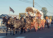 NEWS-TIMES PHOTOS: JOHN MEYER - 4H Wagon Train of Washington County brought its covered wagon to the Gaston Good Old Days Parade, along with four mules to pull it and alumni from the 4H program, which recreates an Oregon Trail, covered wagon trek for one week each summer.