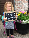 SUBMITTED PHOTO - Megan Brokaw was ready last year for the first day of kindergarten at River Grove Elementary School.