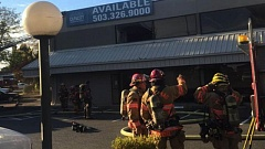 PHOTO COURTESY: CLACKAMAS FIRE - Firefighters put out a three-alarm blaze at a commercial building on Aug. 25.