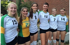 TRIBUNE PHOTO: STEVE BRANDON - Cleveland High volleyball players for 2015 include (from left) Carlin MacMillan, Ella Ristvedt, Kylie Ristvedt, Lilly Marella, Natalie Lannigan and Hannah Welsh.