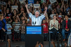 PAMPLIN MEDIA GROUP: DIEGO DIAZ - U.S. Sen. Bernie Sanders (I-Vermont) packed the Moda Center with supporters on Aug. 9.