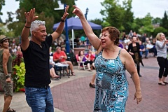 TIMES PHOTO: JAIME VALDEZ - Quirio and Donna Alrcon Elizondop of Tualatin dance to the music from the Big Night Out band during the last concert of the season at Concerts on the Commons in Tualatin.