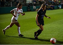 TRIBUNE FILE PHOTO: DIEGO G. DIAZ - Portland Pilots junior midfielder Allison Wetherington (right) got the winning goal as UP beat Marquette 4-3 on Friday, after a 1-0 double-overtime loss at home to Oregon State.