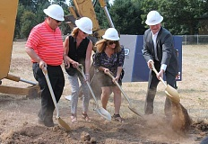SPOKESMAN PHOTO: JAKE BARTMAN - A ground breaking ceremony for Wilsonville Subaru was held Aug. 24. From left: Bob Lanphere, Jr., Debbie Lanphere, Karen Jachter and Dave Jachter.