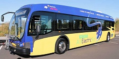 SPOKESMAN PHOTO: JAKE BARTMAN - Proterra, the electric bus's manfacturer, says that it would earn 23 miles per gallon if compared with diesel buses -- significantly more than the 3-6 miles per gallon that diesel buses typically earn.