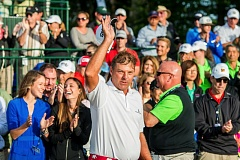 Dicky Pride waves to the crowd after winning the WinCo Foods Portland Open.
